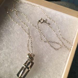 "Jewelry - Modern Cross Necklace - 925 Sterling 17.5"""
